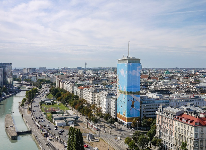 Ringturm with view over Vienna